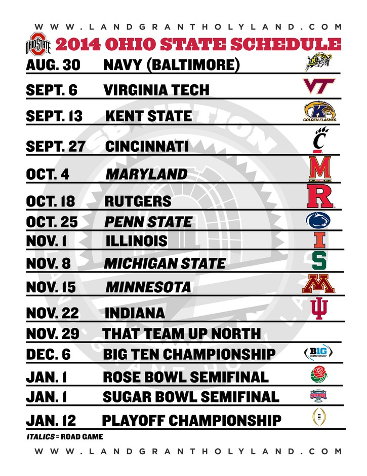 photo regarding Ohio State Football Schedule Printable called Ohio Country Soccer: Printable 2014 Buckeyes Soccer plan